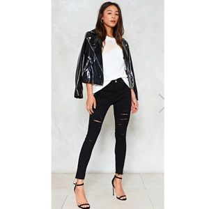 Nasty Gal  skinny ripped jeans, black